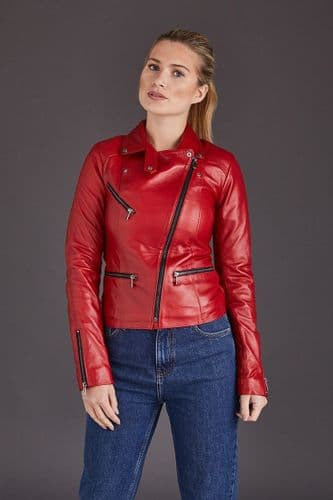 Red Leather Jacket Womens:Anna